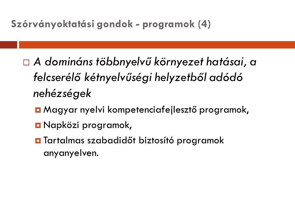 Szórványoktatási gondok - programok (4)  A domináns többnyelvű környezet hatásai, a felcserélő kétnyelvűségi helyzetből adódó nehézségek  Magyar nye