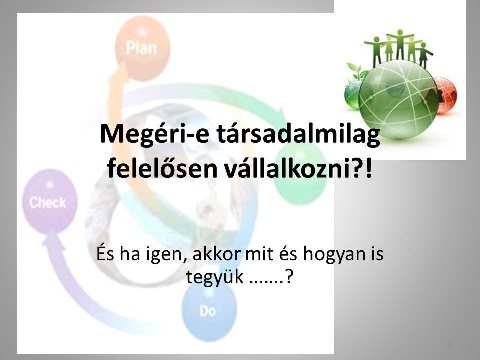 CSR - megvalósítás Az ember (jólléte, boldogsága) a cél, a pénz eszköz.