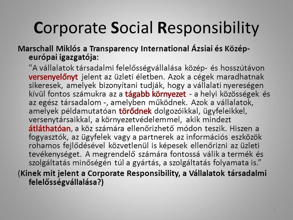 CSR – a gyakorlatban Tréning – Motiváció – Felelősségvállalás/felelősségmegosztás Közösségfejlesztés, hálózatépítés Munkatársak megtartása Képzés, tréning Egészség fókusz a munkahelyen, vállalkozásban egészségfejlesztés Egyenlő esélyek – Nemi, életkori, vallási, etnikai vagy más téren történő megkülönböztetés elkerülése Megfelelő kommunikáció, bizalom munkabiztonság 10