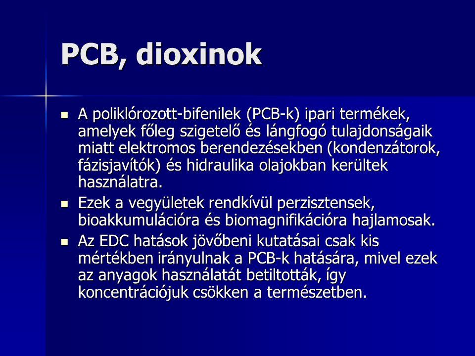 PCB, dioxinok A poliklórozott-bifenilek (PCB-k) ipari termékek, amelyek főleg szigetelő és lángfogó tulajdonságaik miatt elektromos berendezésekben (kondenzátorok, fázisjavítók) és hidraulika olajokban kerültek használatra.