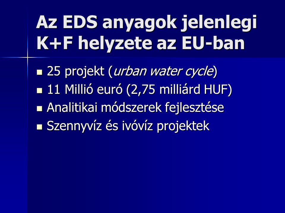 Az EDS anyagok jelenlegi K+F helyzete az EU-ban 25 projekt (urban water cycle) 25 projekt (urban water cycle) 11 Millió euró (2,75 milliárd HUF) 11 Millió euró (2,75 milliárd HUF) Analitikai módszerek fejlesztése Analitikai módszerek fejlesztése Szennyvíz és ivóvíz projektek Szennyvíz és ivóvíz projektek
