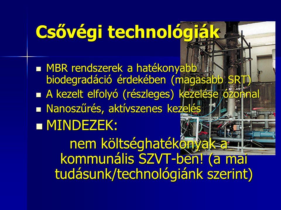 Csővégi technológiák MBR rendszerek a hatékonyabb biodegradáció érdekében (magasabb SRT) MBR rendszerek a hatékonyabb biodegradáció érdekében (magasabb SRT) A kezelt elfolyó (részleges) kezelése ózonnal A kezelt elfolyó (részleges) kezelése ózonnal Nanoszűrés, aktívszenes kezelés Nanoszűrés, aktívszenes kezelés MINDEZEK: MINDEZEK: nem költséghatékonyak a kommunális SZVT-ben.