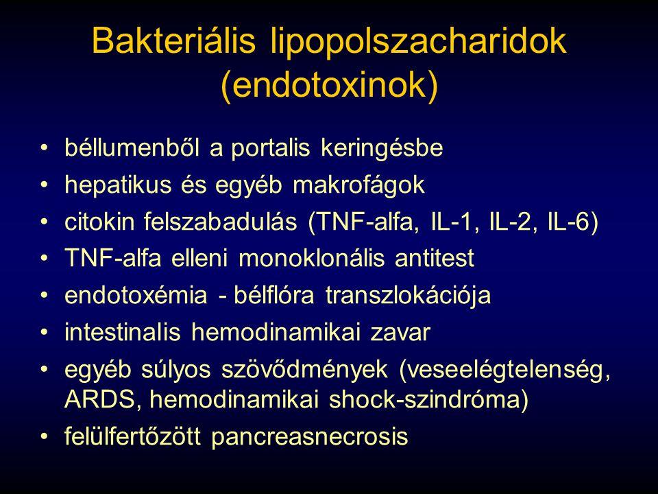 Bakteriális lipopolszacharidok (endotoxinok) béllumenből a portalis keringésbe hepatikus és egyéb makrofágok citokin felszabadulás (TNF-alfa, IL-1, IL-2, IL-6) TNF-alfa elleni monoklonális antitest endotoxémia - bélflóra transzlokációja intestinalis hemodinamikai zavar egyéb súlyos szövődmények (veseelégtelenség, ARDS, hemodinamikai shock-szindróma) felülfertőzött pancreasnecrosis
