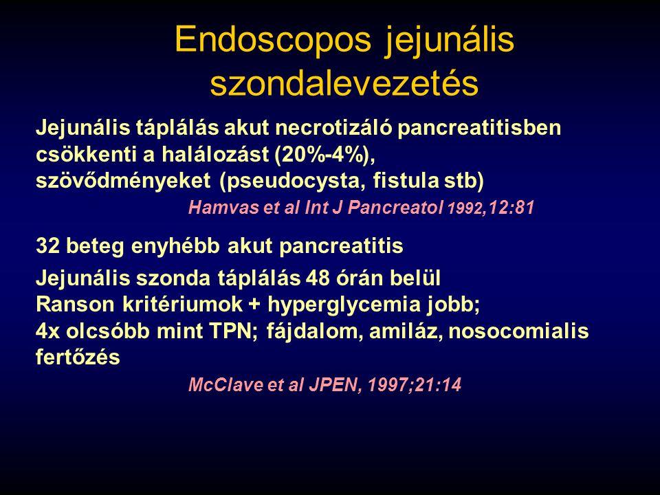 Endoscopos jejunális szondalevezetés Jejunális táplálás akut necrotizáló pancreatitisben csökkenti a halálozást (20%-4%), szövődményeket (pseudocysta,