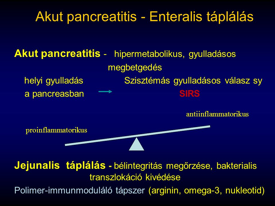 Akut pancreatitis - Enteralis táplálás Akut pancreatitis - hipermetabolikus, gyulladásos megbetgedés helyi gyulladásSzisztémás gyulladásos válasz sy a