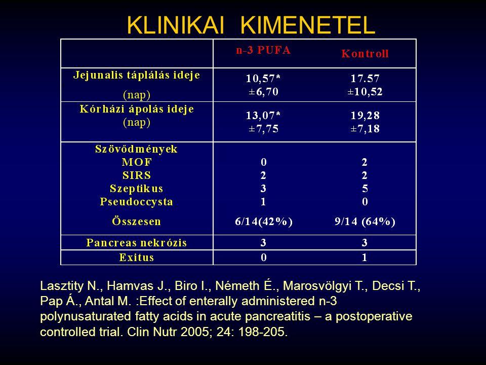 KLINIKAI KIMENETEL Lasztity N., Hamvas J., Biro I., Németh É., Marosvölgyi T., Decsi T., Pap Á., Antal M. :Effect of enterally administered n-3 polynu