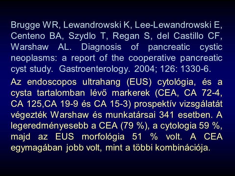 Brugge WR, Lewandrowski K, Lee-Lewandrowski E, Centeno BA, Szydlo T, Regan S, del Castillo CF, Warshaw AL. Diagnosis of pancreatic cystic neoplasms: a