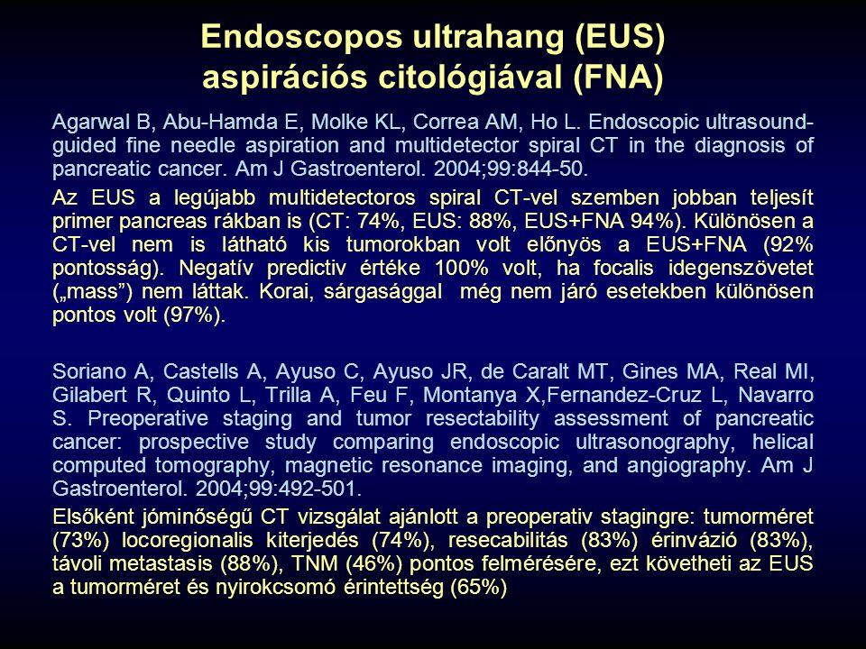 Endoscopos ultrahang (EUS) aspirációs citológiával (FNA) Agarwal B, Abu-Hamda E, Molke KL, Correa AM, Ho L. Endoscopic ultrasound- guided fine needle