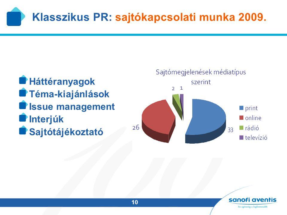 10 Klasszikus PR: sajtókapcsolati munka 2009. Háttéranyagok Téma-kiajánlások Issue management Interjúk Sajtótájékoztató