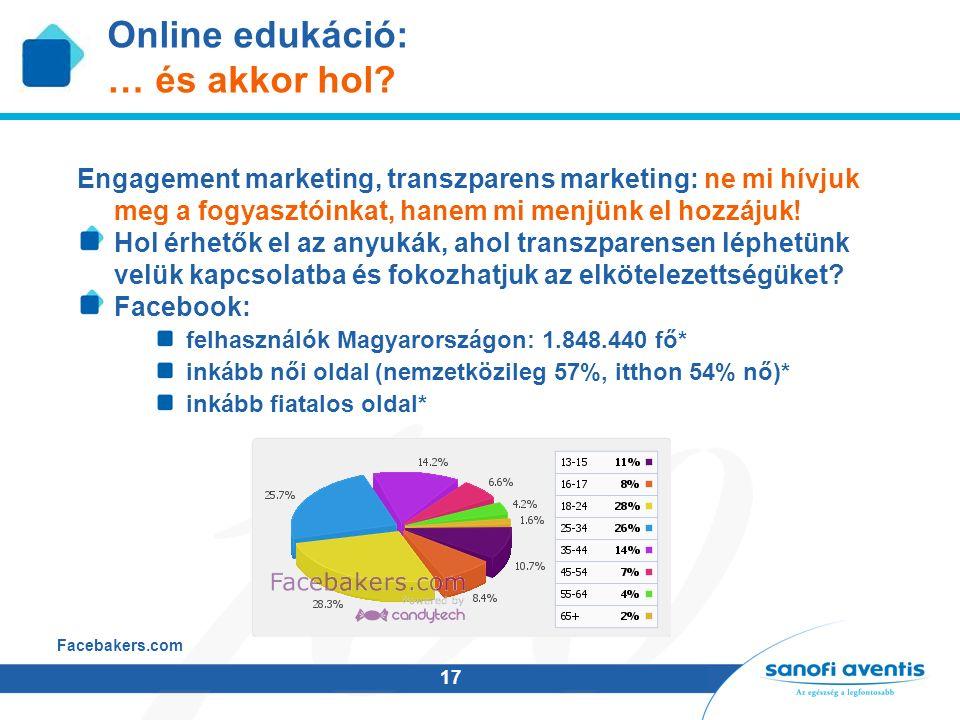17 Online edukáció: … és akkor hol? Engagement marketing, transzparens marketing: ne mi hívjuk meg a fogyasztóinkat, hanem mi menjünk el hozzájuk! Hol