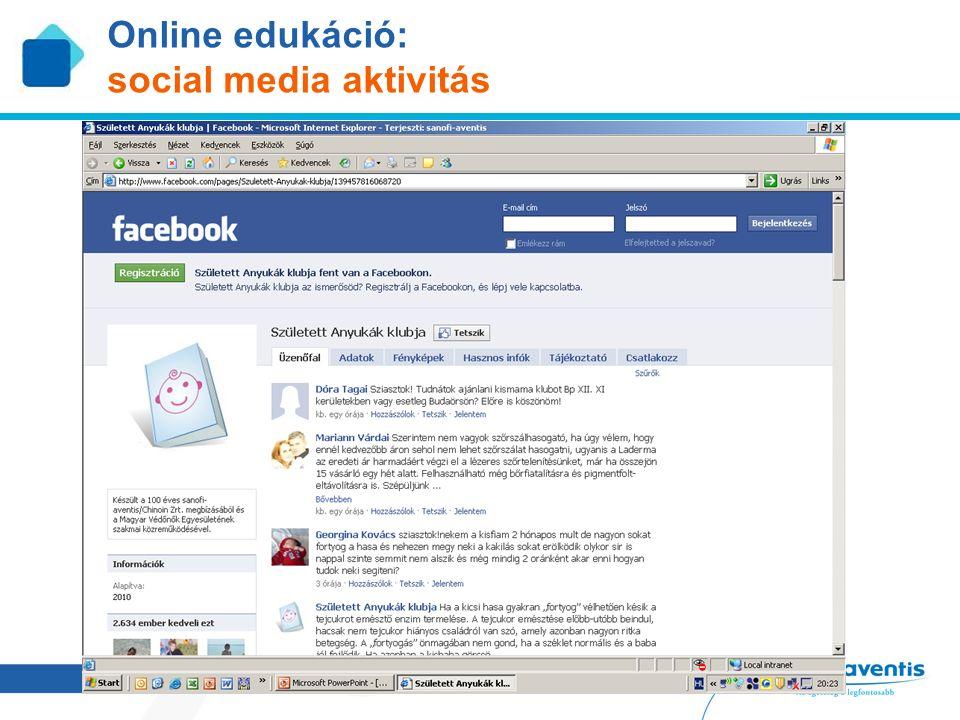 18 Online edukáció: social media aktivitás