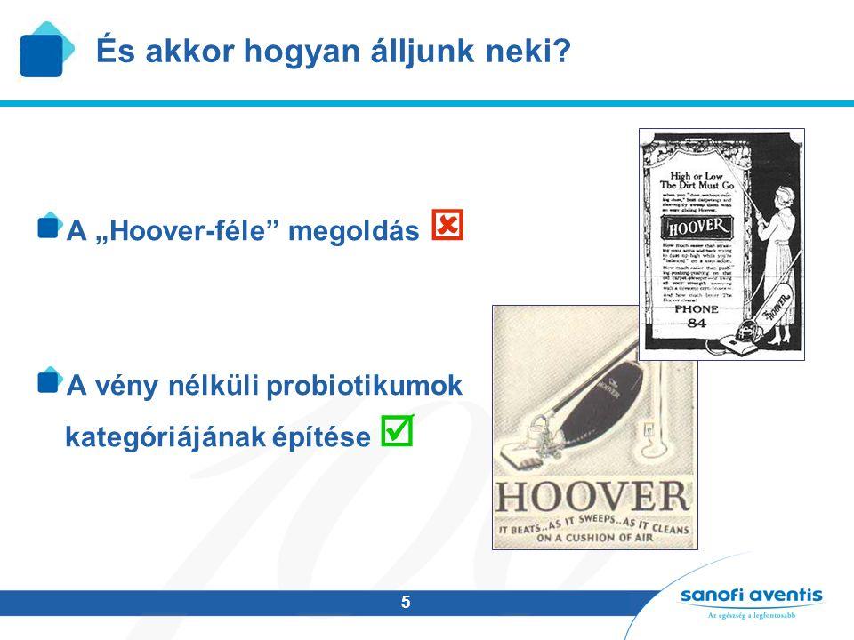 """5 És akkor hogyan álljunk neki? A """"Hoover-féle"""" megoldás  A vény nélküli probiotikumok kategóriájának építése """