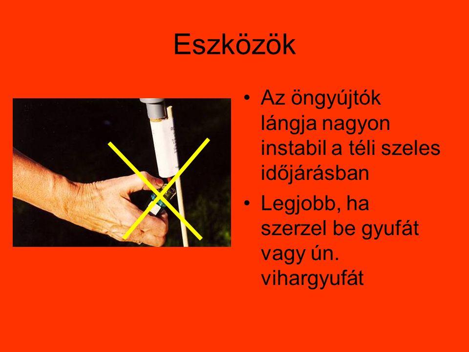 Eszközök Az öngyújtók lángja nagyon instabil a téli szeles időjárásban Legjobb, ha szerzel be gyufát vagy ún.