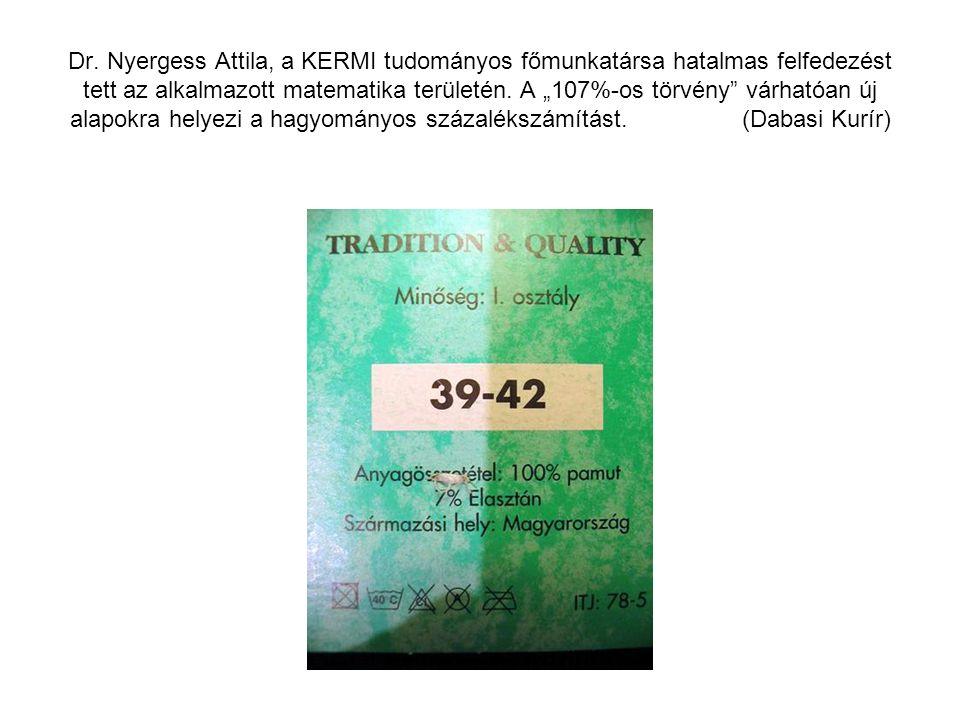 """Dr. Nyergess Attila, a KERMI tudományos főmunkatársa hatalmas felfedezést tett az alkalmazott matematika területén. A """"107%-os törvény"""" várhatóan új a"""