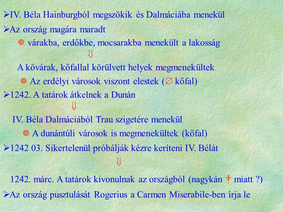  IV. Béla Hainburgból megszökik és Dalmáciába menekül  Az ország magára maradt  várakba, erdőkbe, mocsarakba menekült a lakosság  A kővárak, kőfal
