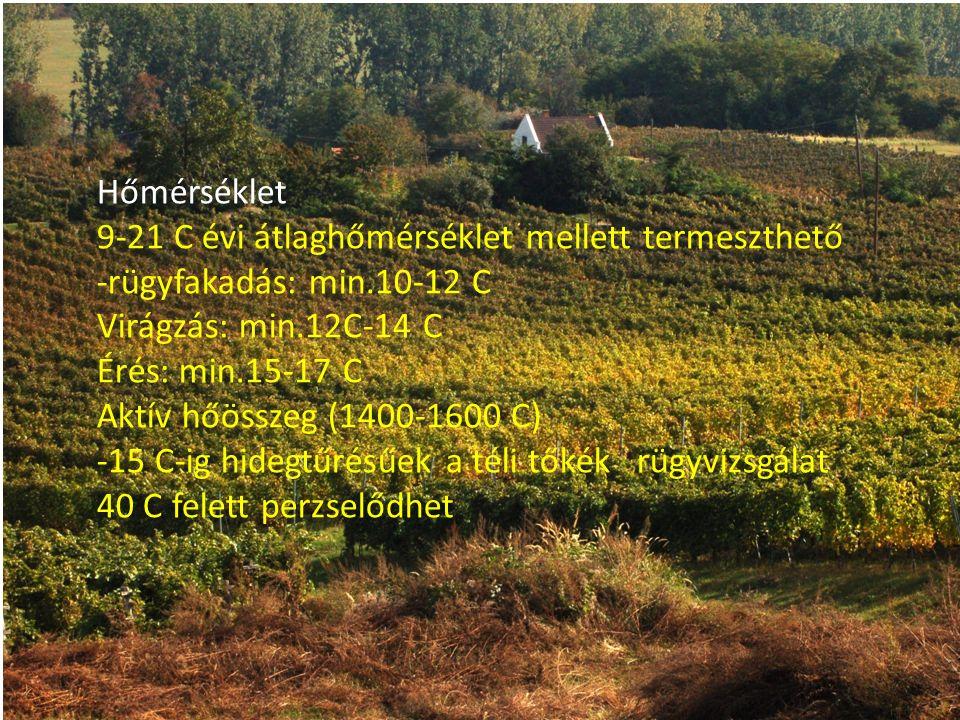 Hőmérséklet 9-21 C évi átlaghőmérséklet mellett termeszthető -rügyfakadás: min.10-12 C Virágzás: min.12C-14 C Érés: min.15-17 C Aktív hőösszeg (1400-1600 C) -15 C-ig hidegtűrésűek a téli tőkék rügyvizsgálat 40 C felett perzselődhet