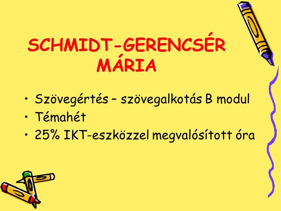 SCHMIDT-GERENCSÉR MÁRIA Szövegértés – szövegalkotás B modul Témahét 25% IKT-eszközzel megvalósított óra