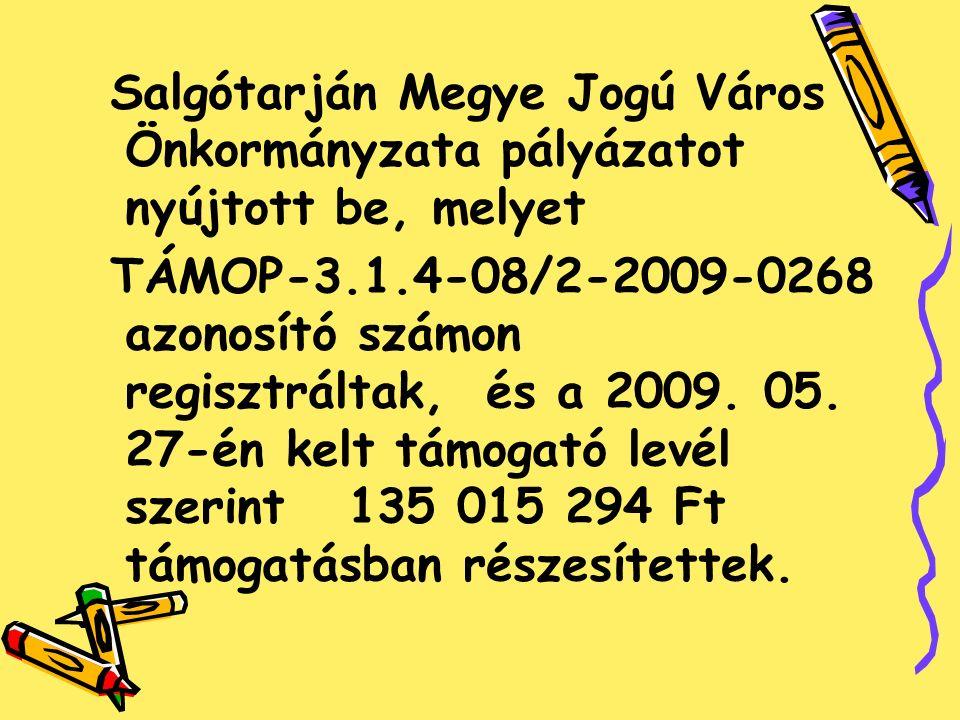 Salgótarján Megye Jogú Város Önkormányzata pályázatot nyújtott be, melyet TÁMOP-3.1.4-08/2-2009-0268 azonosító számon regisztráltak, és a 2009.