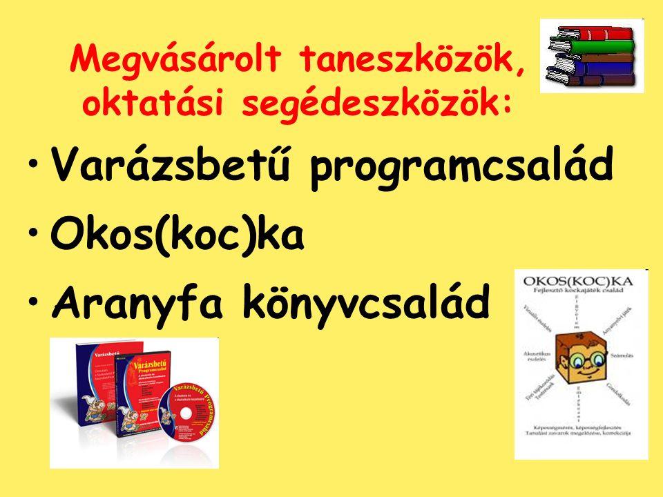 Megvásárolt taneszközök, oktatási segédeszközök: Varázsbetű programcsalád Okos(koc)ka Aranyfa könyvcsalád