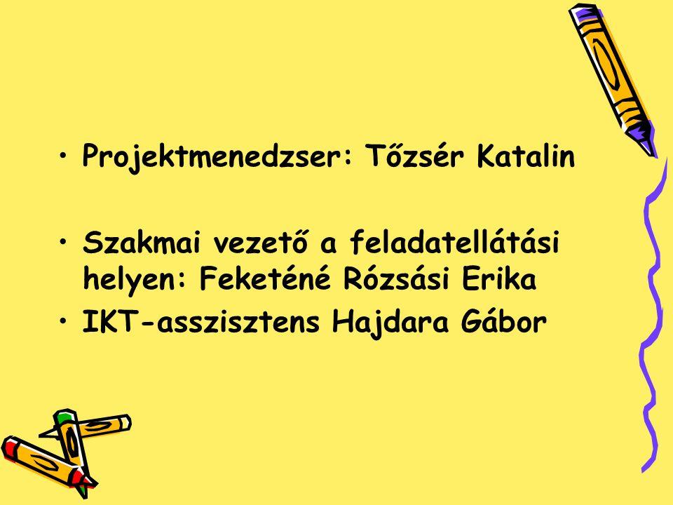 Projektmenedzser: Tőzsér Katalin Szakmai vezető a feladatellátási helyen: Feketéné Rózsási Erika IKT-asszisztens Hajdara Gábor