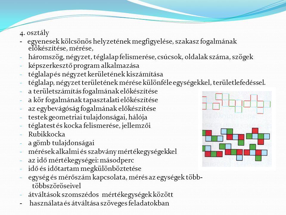 4. osztály - egyenesek kölcsönös helyzetének megfigyelése, szakasz fogalmának előkészítése, mérése, - háromszög, négyzet, téglalap felismerése, csúcso