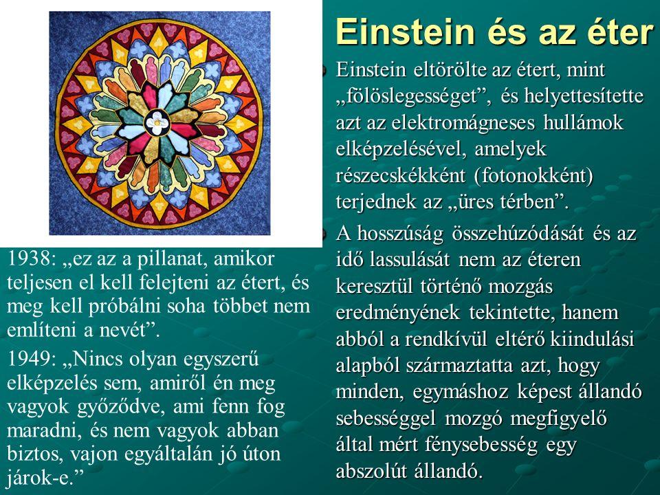 """Einstein és az éter Einstein eltörölte az étert, mint """"fölöslegességet , és helyettesítette azt az elektromágneses hullámok elképzelésével, amelyek részecskékként (fotonokként) terjednek az """"üres térben ."""