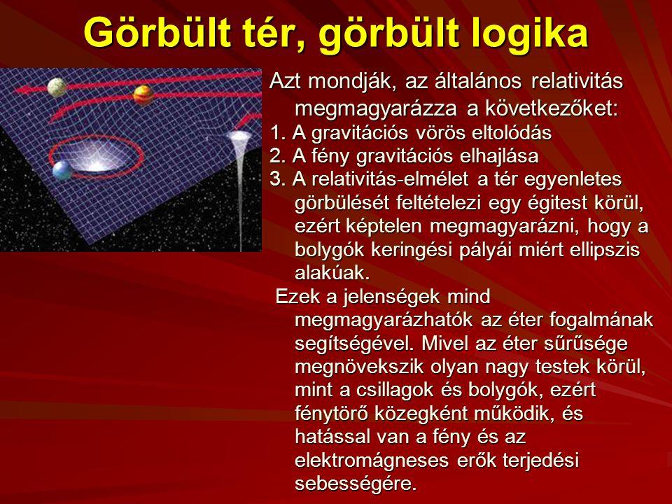 Görbült tér, görbült logika Azt mondják, az általános relativitás megmagyarázza a következőket: 1.
