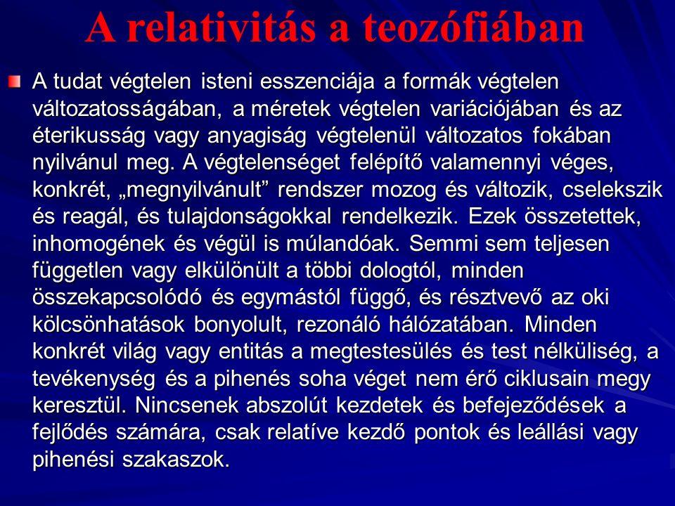 A relativitás – ami egyetemesen előforduló kapcsolatokat jelent a térben és az időben – a kozmosz, mint a fejlődő entitások összessége fogalmának legbelsőbb lényege, a végtelen mozgás, a végtelen élet, a végtelen fejlődés állandó kiáradását jelenti.