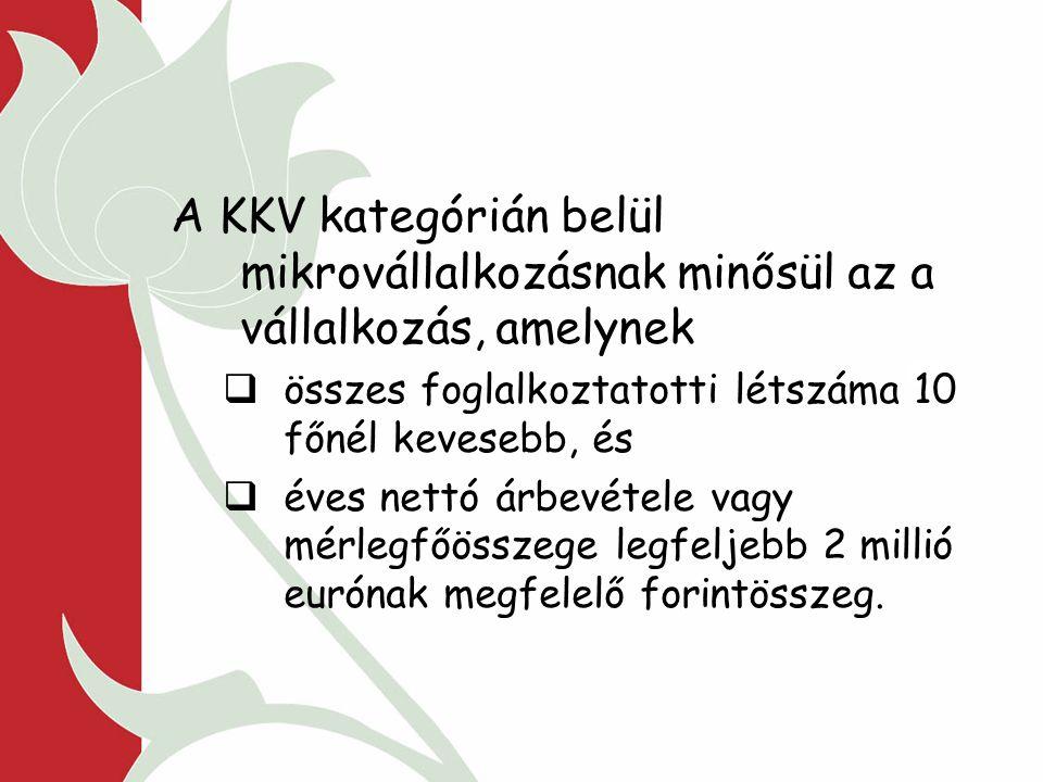 A KKV kategórián belül mikrovállalkozásnak minősül az a vállalkozás, amelynek  összes foglalkoztatotti létszáma 10 főnél kevesebb, és  éves nettó árbevétele vagy mérlegfőösszege legfeljebb 2 millió eurónak megfelelő forintösszeg.