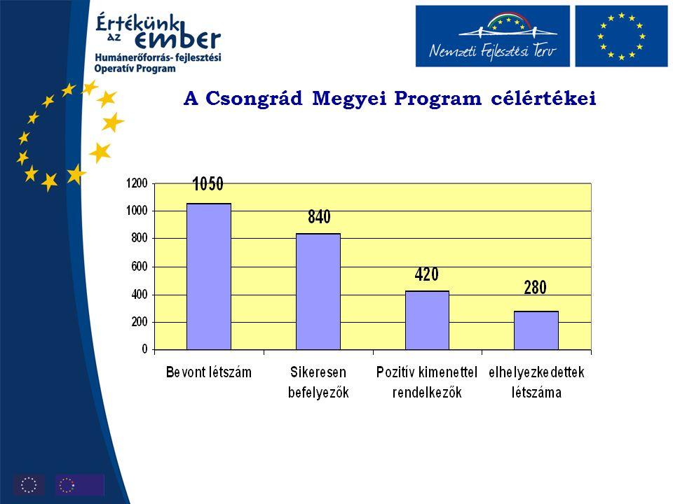 A Csongrád Megyei Program célértékei