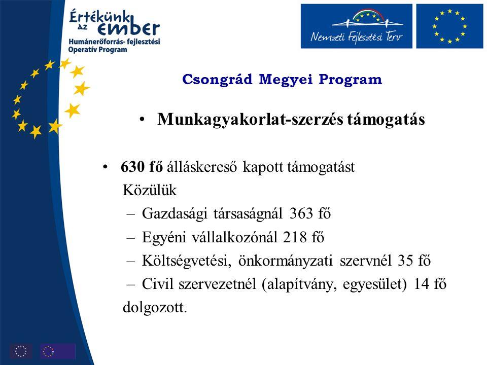 Csongrád Megyei Program Munkagyakorlat-szerzés támogatás 630 fő álláskereső kapott támogatást Közülük –Gazdasági társaságnál 363 fő –Egyéni vállalkozónál 218 fő –Költségvetési, önkormányzati szervnél 35 fő –Civil szervezetnél (alapítvány, egyesület) 14 fő dolgozott.