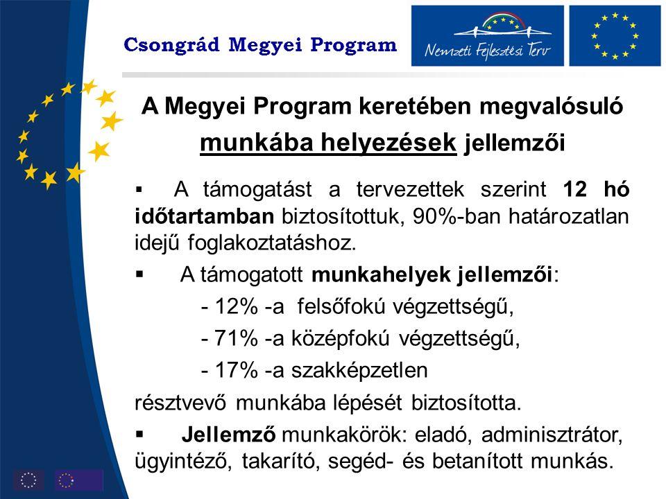 A Megyei Program keretében megvalósuló munkába helyezések jellemzői  A támogatást a tervezettek szerint 12 hó időtartamban biztosítottuk, 90%-ban határozatlan idejű foglakoztatáshoz.