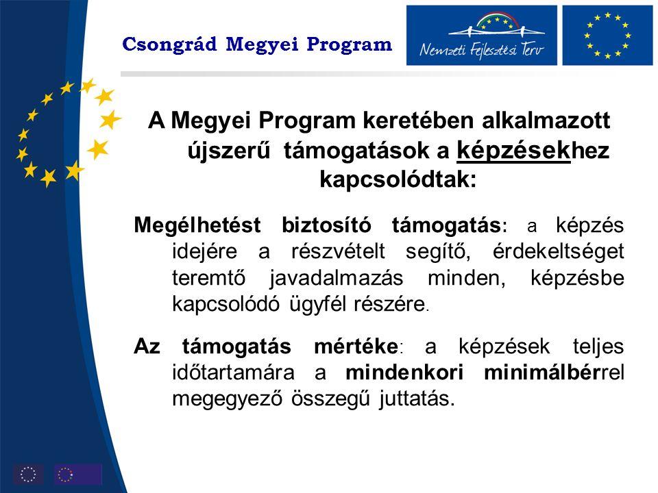 Csongrád Megyei Program A Megyei Program keretében alkalmazott újszerű támogatások a képzések hez kapcsolódtak: Megélhetést biztosító támogatás : a képzés idejére a részvételt segítő, érdekeltséget teremtő javadalmazás minden, képzésbe kapcsolódó ügyfél részére.
