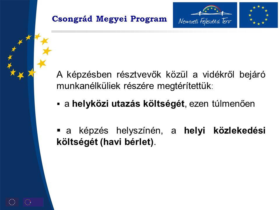 Csongrád Megyei Program A képzésben résztvevők közül a vidékről bejáró munkanélküliek részére megtérítettük :  a helyközi utazás költségét, ezen túlmenően  a képzés helyszínén, a helyi közlekedési költségét (havi bérlet).
