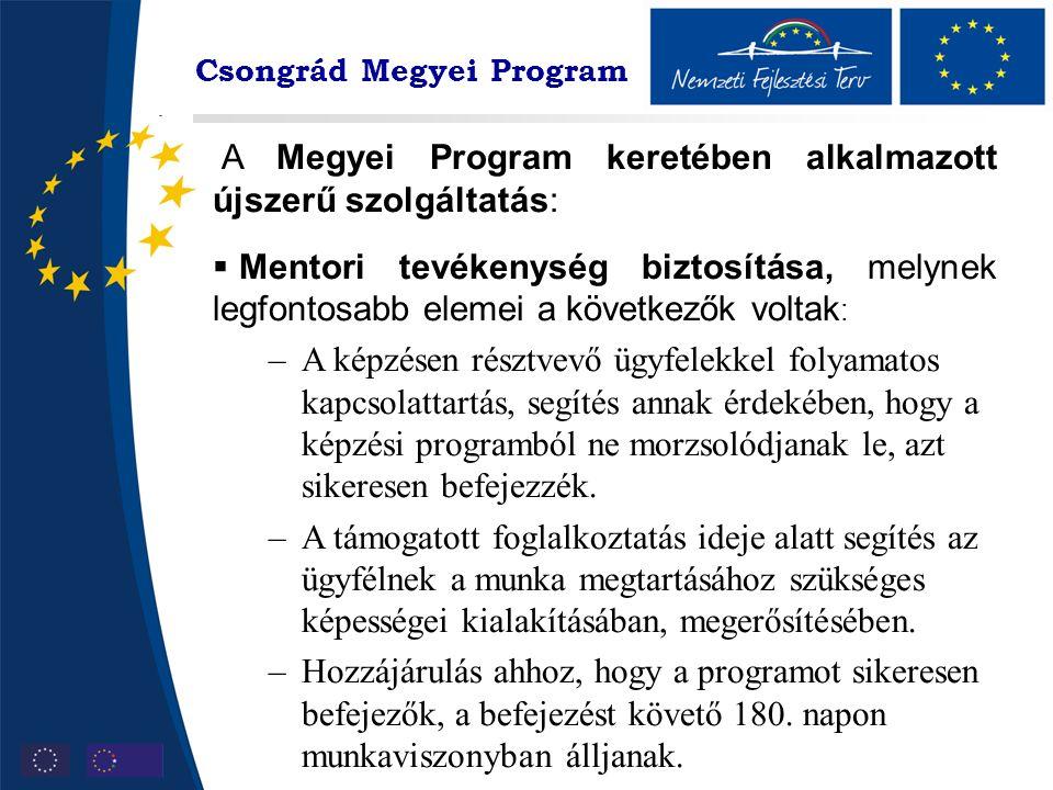 Csongrád Megyei Program A Megyei Program keretében alkalmazott újszerű szolgáltatás:  Mentori tevékenység biztosítása, melynek legfontosabb elemei a következők voltak : –A képzésen résztvevő ügyfelekkel folyamatos kapcsolattartás, segítés annak érdekében, hogy a képzési programból ne morzsolódjanak le, azt sikeresen befejezzék.
