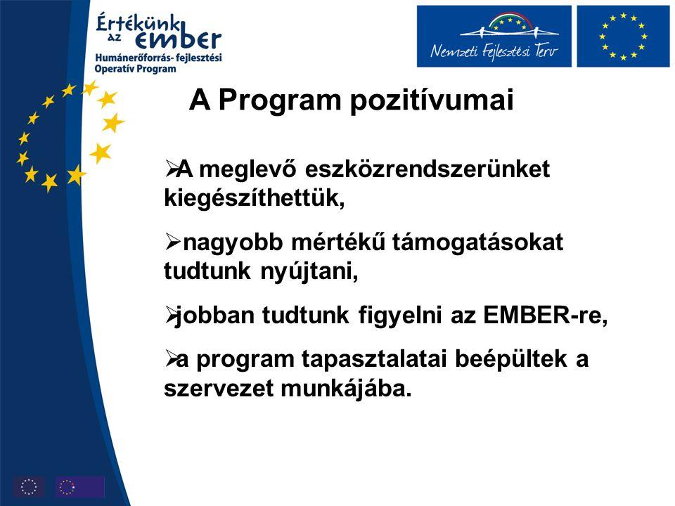 A Program pozitívumai  A meglevő eszközrendszerünket kiegészíthettük,  nagyobb mértékű támogatásokat tudtunk nyújtani,  jobban tudtunk figyelni az EMBER-re,  a program tapasztalatai beépültek a szervezet munkájába.