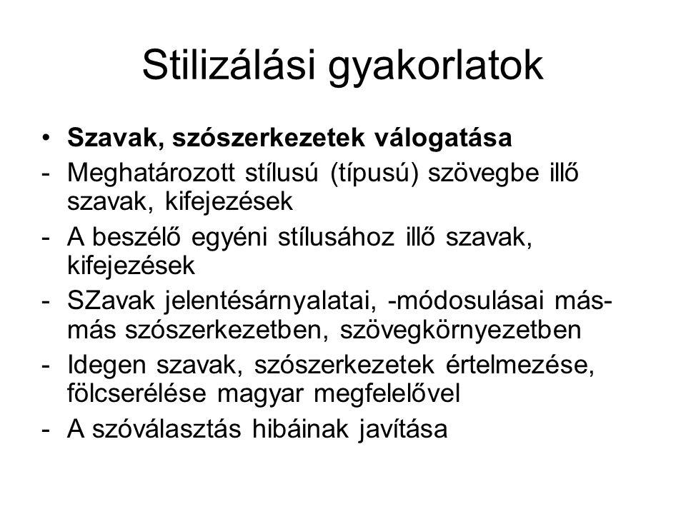 Stilizálási gyakorlatok Szavak, szószerkezetek válogatása -Meghatározott stílusú (típusú) szövegbe illő szavak, kifejezések -A beszélő egyéni stílusáh