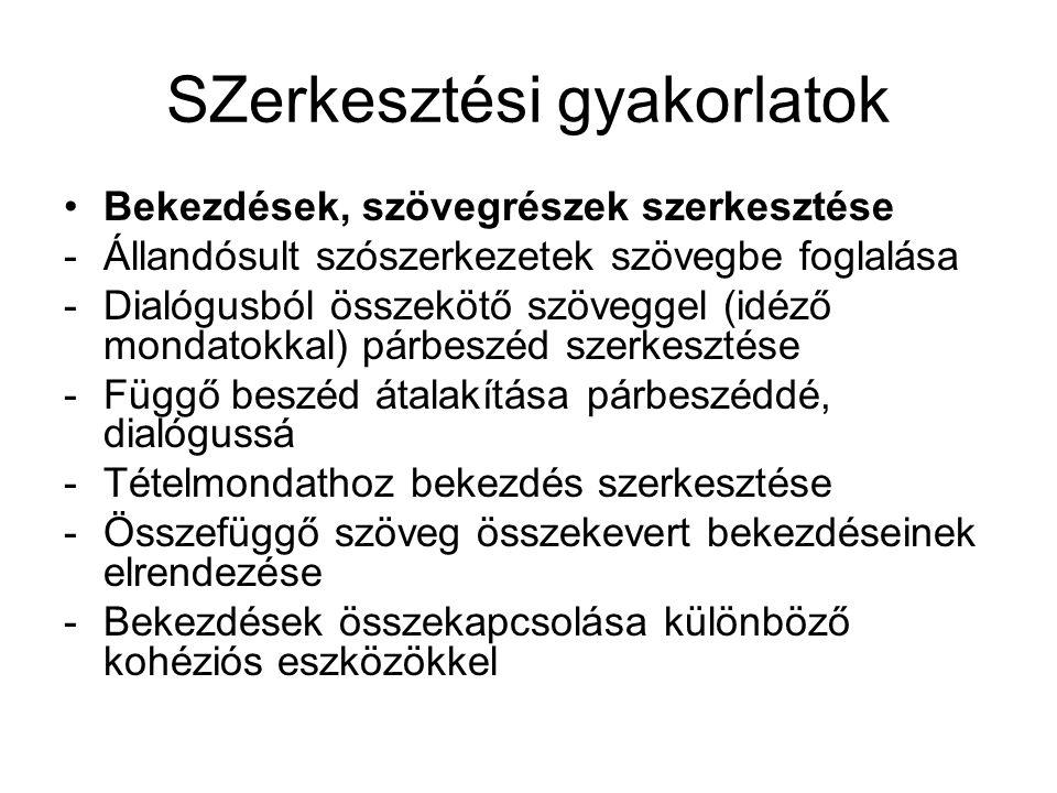 SZerkesztési gyakorlatok Bekezdések, szövegrészek szerkesztése -Állandósult szószerkezetek szövegbe foglalása -Dialógusból összekötő szöveggel (idéző