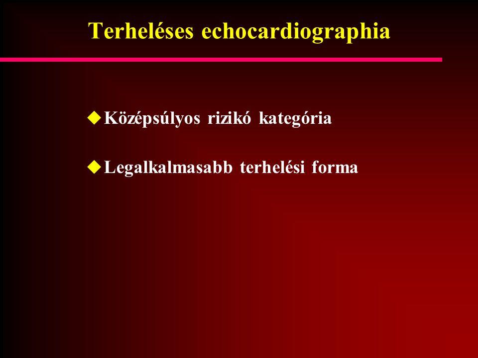 Terheléses echocardiographia  Középsúlyos rizikó kategória  Legalkalmasabb terhelési forma