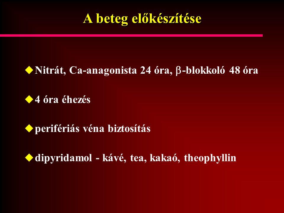A beteg előkészítése  Nitrát, Ca-anagonista 24 óra,  -blokkoló 48 óra  4 óra éhezés  perifériás véna biztosítás  dipyridamol - kávé, tea, kakaó,