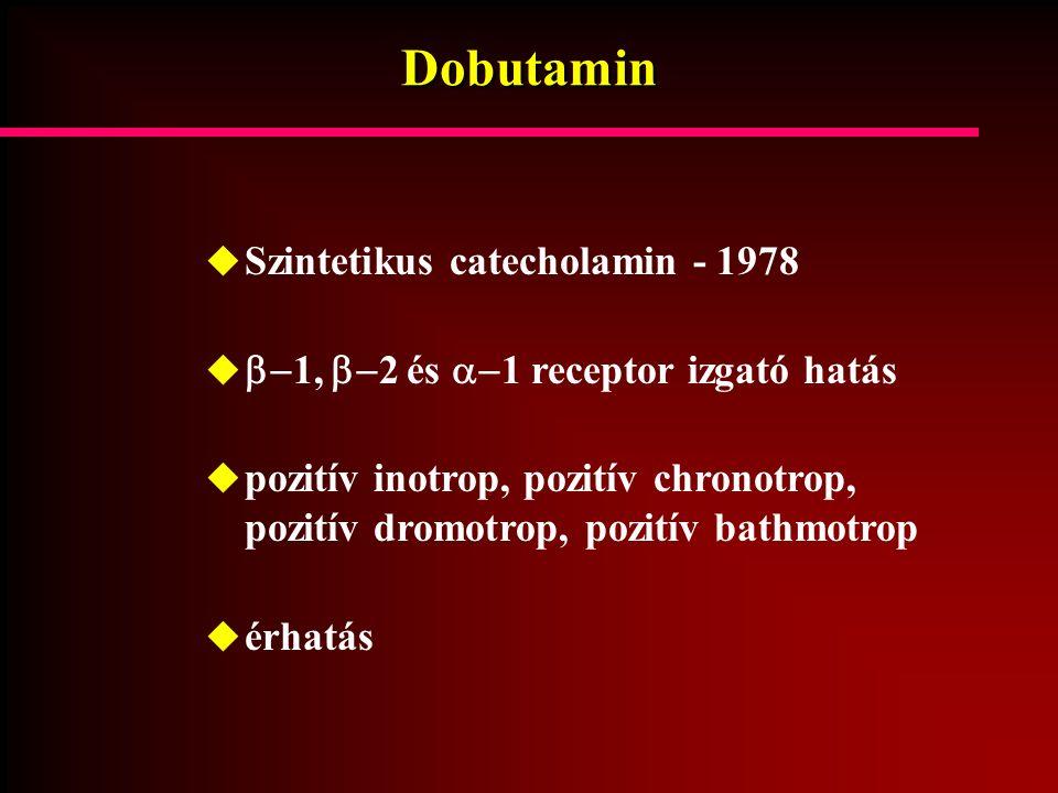 Dobutamin  Szintetikus catecholamin - 1978   1,  2 és  1 receptor izgató hatás  pozitív inotrop, pozitív chronotrop, pozitív dromotrop, pozit