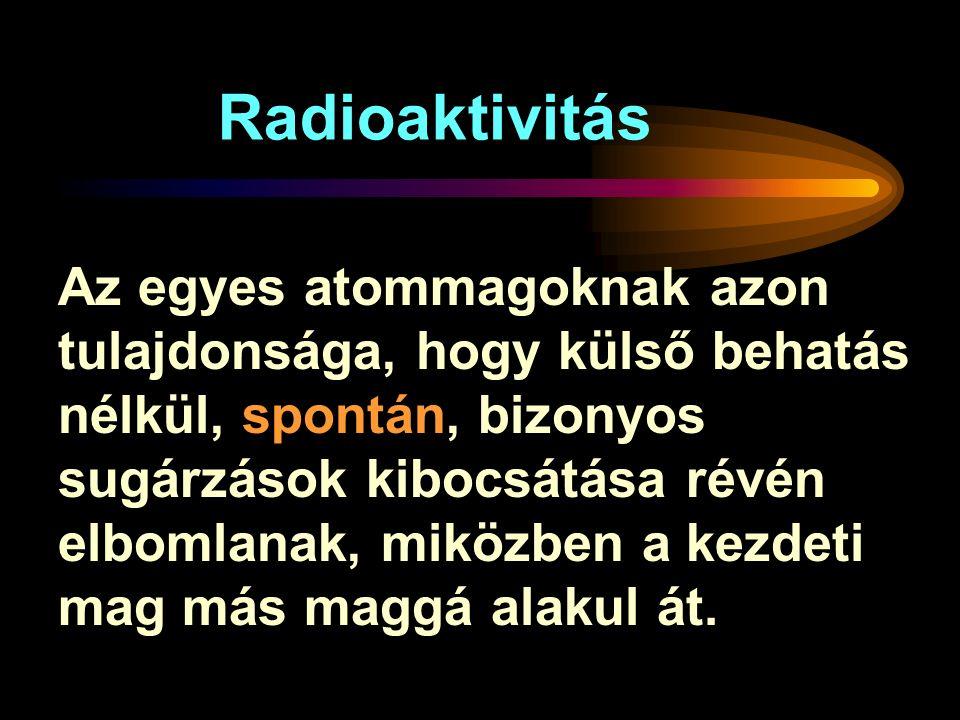 Radioaktivitás Az egyes atommagoknak azon tulajdonsága, hogy külső behatás nélkül, spontán, bizonyos sugárzások kibocsátása révén elbomlanak, miközben a kezdeti mag más maggá alakul át.