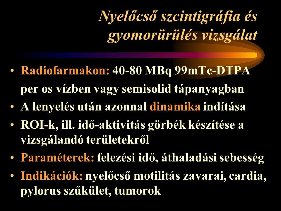 Nyelőcső szcintigráfia és gyomorürülés vizsgálat Radiofarmakon: 40-80 MBq 99mTc-DTPA per os vízben vagy semisolid tápanyagban A lenyelés után azonnal dinamika indítása ROI-k, ill.