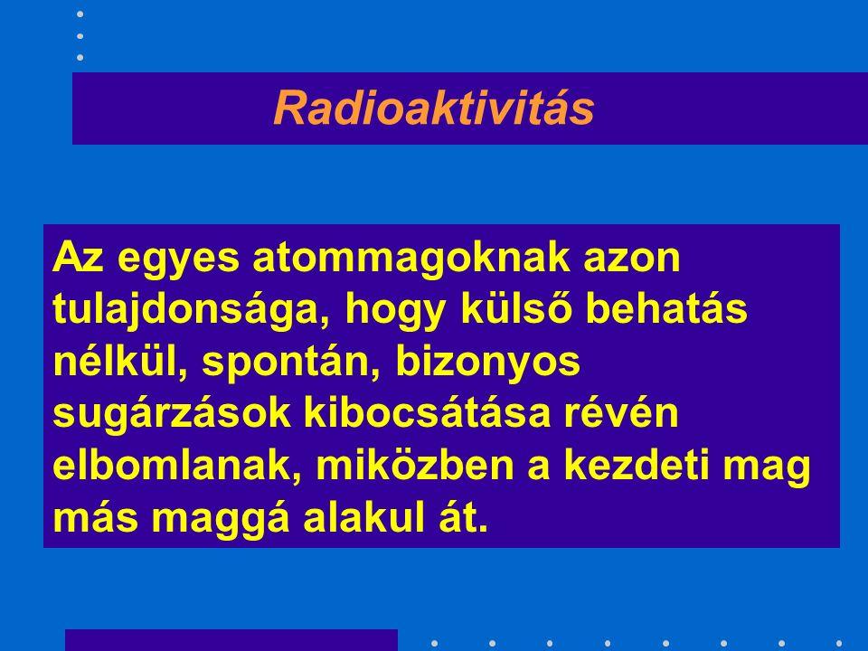 Radioaktiv izotóp A kedvezőtlen proton - neutron arány miatt valamilyen sugárzás kibocsátása közben magátalakuláson megy át, elbomlik.