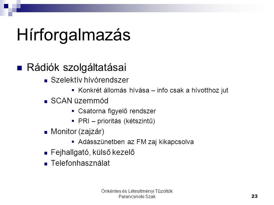 Önkéntes és Létesítményi Tűzoltók Parancsnoki Szak23 Hírforgalmazás Rádiók szolgáltatásai Szelektív hívórendszer  Konkrét állomás hívása – info csak a hívotthoz jut SCAN üzemmód  Csatorna figyelő rendszer  PRI – prioritás (kétszintű) Monitor (zajzár)  Adásszünetben az FM zaj kikapcsolva Fejhallgató, külső kezelő Telefonhasználat