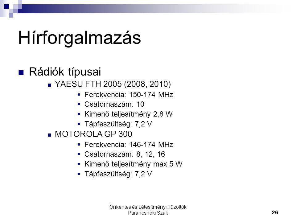 Önkéntes és Létesítményi Tűzoltók Parancsnoki Szak26 Hírforgalmazás Rádiók típusai YAESU FTH 2005 (2008, 2010)  Ferekvencia: 150-174 MHz  Csatornaszám: 10  Kimenő teljesítmény 2,8 W  Tápfeszültség: 7,2 V MOTOROLA GP 300  Ferekvencia: 146-174 MHz  Csatornaszám: 8, 12, 16  Kimenő teljesítmény max 5 W  Tápfeszültség: 7,2 V