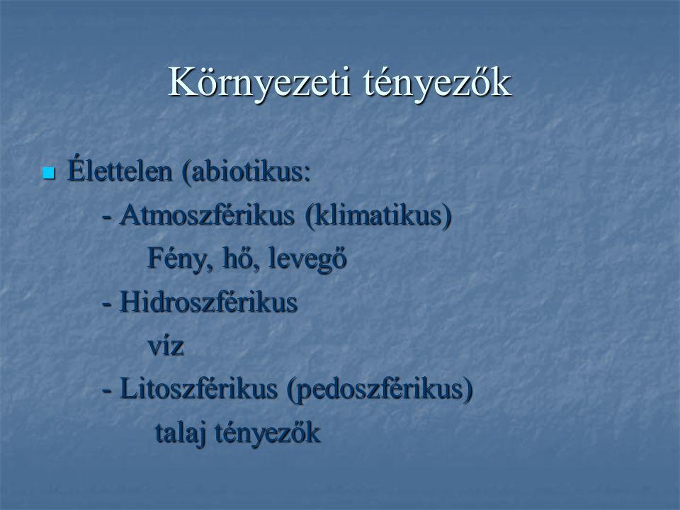 Környezeti tényezők Élettelen (abiotikus: Élettelen (abiotikus: - Atmoszférikus (klimatikus) - Atmoszférikus (klimatikus) Fény, hő, levegő Fény, hő, levegő - Hidroszférikus - Hidroszférikus víz víz - Litoszférikus (pedoszférikus) - Litoszférikus (pedoszférikus) talaj tényezők talaj tényezők
