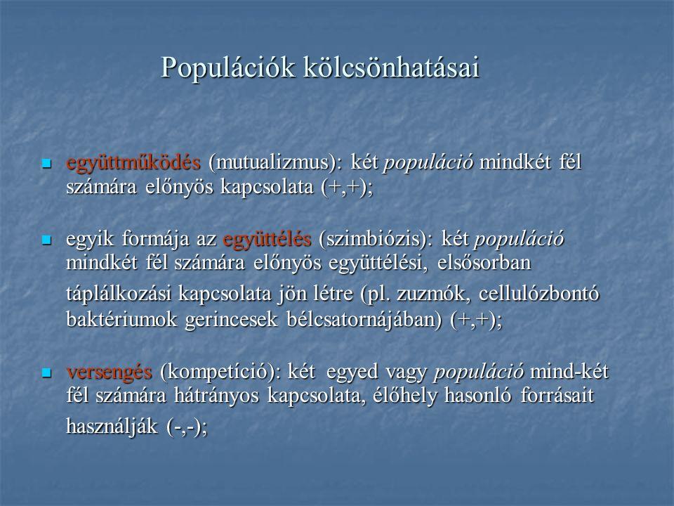 Populációk kölcsönhatásai együttműködés (mutualizmus): két populáció mindkét fél számára előnyös kapcsolata (+,+); együttműködés (mutualizmus): két populáció mindkét fél számára előnyös kapcsolata (+,+); egyik formája az együttélés (szimbiózis): két populáció mindkét fél számára előnyös együttélési, elsősorban táplálkozási kapcsolata jön létre (pl.