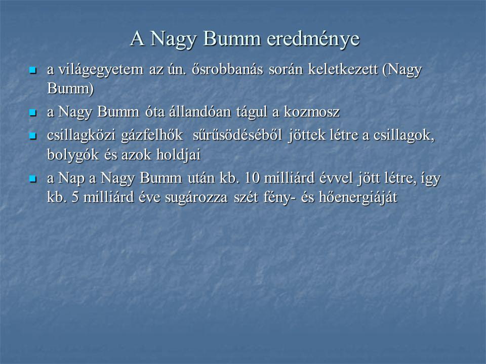 A Nagy Bumm eredménye a világegyetem az ún. ősrobbanás során keletkezett (Nagy Bumm) a világegyetem az ún. ősrobbanás során keletkezett (Nagy Bumm) a