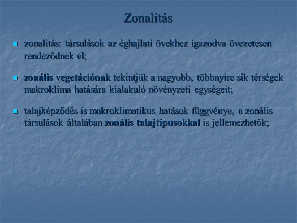 Zonalitás zonalitás: társulások az éghajlati övekhez igazodva övezetesen rendeződnek el; zonalitás: társulások az éghajlati övekhez igazodva övezetese